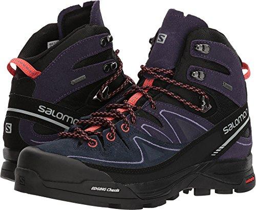 Salomon X Alpine Mid Leather GTX Boot - Women's Black / Nightshade Grey / Coral Punch 8 by Salomon