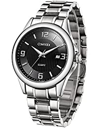 Men's Quartz Watches Stainless Steel Band and Black Dial...