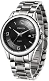 Comtex Men's Quartz Analog Black Dial with Stainless Steel Band Watches