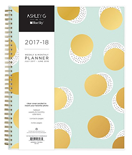 """Ashley G for Blue Sky 2017-2018 Academic Year Weekly & Monthly Planner, Twin-Wire Bound, 8.5"""" x 11"""", Big Dot Design"""