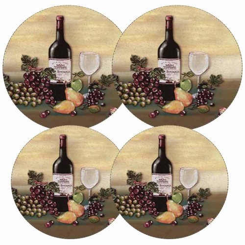 Reston Lloyd Electric Stove Burner Covers, Set of 4, Wine and Vines All-Over (Glass Grape Pattern)