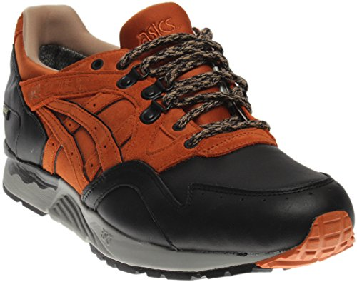 ASICS Men Running Shoe Black;brown Lyte Leather Red G V Round TX Toe Gel XUrqX