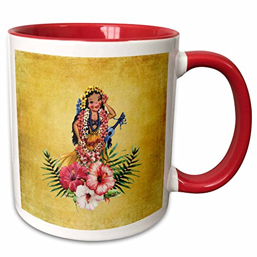 3dRose 214530_5 Hawaiian Doll in Grass Skirt and Lei with Flowers Two Tone Mug, 11 oz, Red (Flower Two Tone Lei)