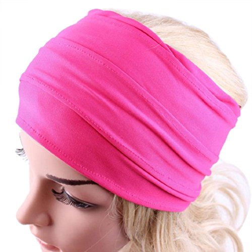 Adult Knit Headband - Women Hairband,Leedford Women Yoga Wide Headband Boho Headwrap Running Headband (One Size, Hot Pink)