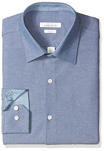 Perry Ellis Men's Slim Fit Adjustable Collar Oxford Dress Shirt, Denim, 15-34/35 (Perry Ellis Spread Collar Dress Shirt)