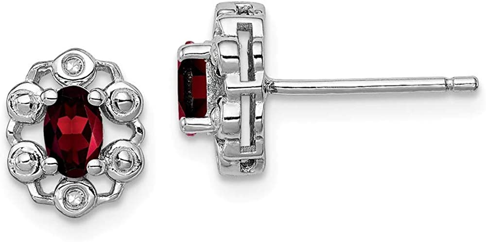 Garnet and Diamond Earrings .01cttw Mia Diamonds 925 Sterling Silver 9mm x 7mm