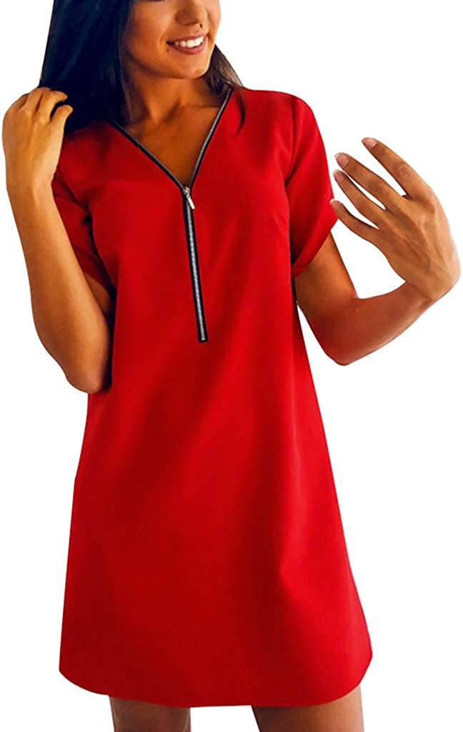 RTYou Dress for Women Loose Mini Dress Short Sleeve V Neck Zipper Front Shirt Dress Party Evening Dress