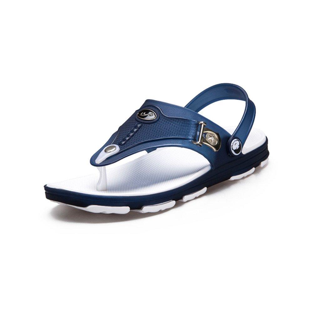 Sunny&Baby Zapatos de Deporte sin Cordones de la Manera del Resbalón del Talón Plano del Resbalón del Talón Plano de los Hombres Antideslizante (Color : Azul, Tamaño : 44 EU) 44 EU|Azul