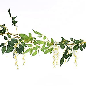 Greentime 4Pcs Artificial Flowers 6.6ft/Piece Silk Wisteria Ivy Vine Green Leaf Hanging Vine Garland for Wedding Party Home Garden Wall Decoration 4