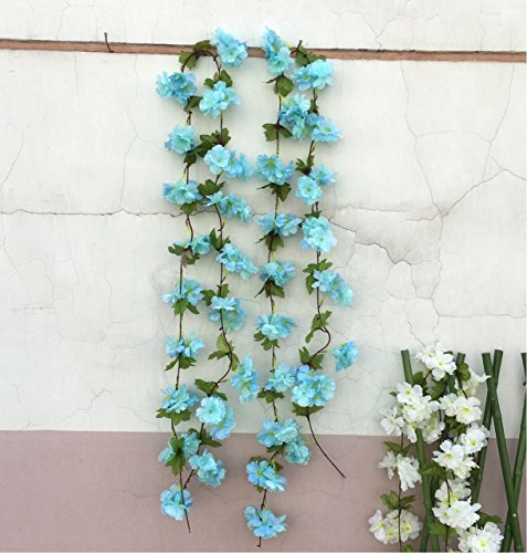 Htmeing 89u2033 Artificial Cherry Blossom Hanging Vine Silk Flowers Garland Fake  Plants Leaf For Home Wedding Decor, 2 ...