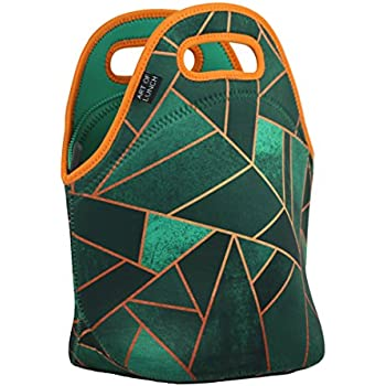 """Neoprene Lunch Bag by ART OF LUNCH - Large [12"""" x 12"""" x 6.5""""] Gourmet Insulating Lunch Tote - A Partnership with Artists Around the World - Design by Elisabeth Fredriksson (Sweden) - Emerald & Copper"""