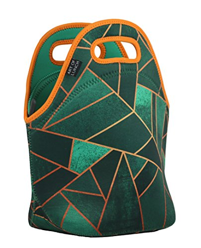 (ART OF LUNCH Insulated Neoprene Lunch Bag for Women, Men and Kids - Reusable Soft Lunch Tote for Work and School - Design by Elisabeth Fredriksson (Sweden) - Emerald & Copper)