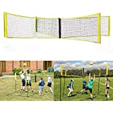 Portable 4 Square Volleyball Net Adjustable Durable Four Way Cross Volleyball Net for Outdoor Backyard 4 Side Volleyball Net Beach Adult Men Women Kids