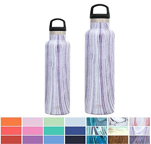 Simple Modern 20oz Ascent Water Bottle - Stainless Steel Hydro Swell Flask w/Handle Lid - Double Wall Vacuum Insulated Reusable Tumbler Small Kids Coffee Leakproof Thermos - Lavender Swirl (Swirl Handles)