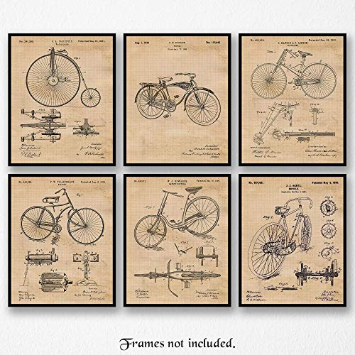 Original Bicycle Patent Art Poster Prints- Set of 6 (Six 8x10) Unframed Pictures- Great Wall Art Decor Gifts Under $20 for Home, Office, Garage, Man Cave, Shop, Teacher, Cyclist, Triathlon Fan