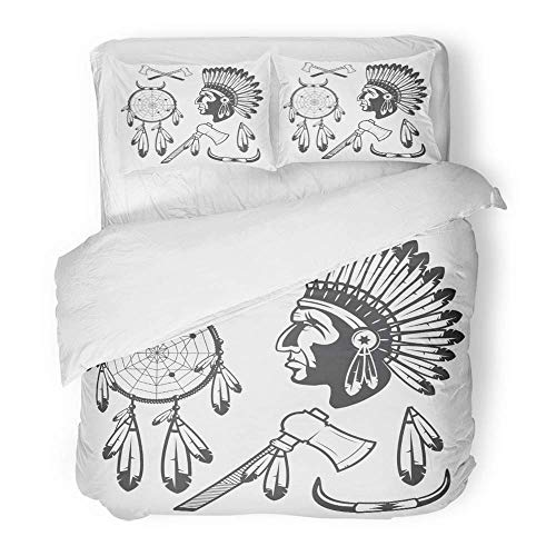 3 Piece Duvet Cover Set Brushed Microfiber Fabric Breathable Red Native American Indian Clipart and White Feather Tribal Headdress Injun Axe Bedding Set with 2 Pillow Covers Twin Size