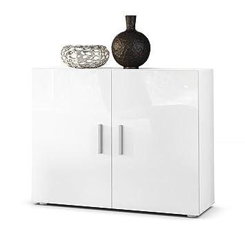 Chest Of Drawers Cabinet Vega Carcass In White Matt  Front High  Gloss White Gloss Cabinet S95