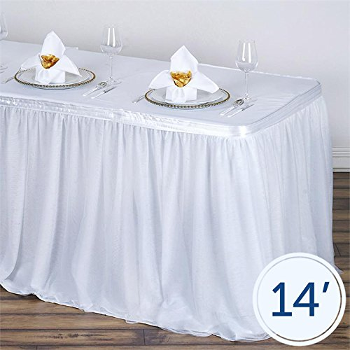 BalsaCircle 14 feet x 29-Inch White Tulle Pleated Table Skirt with 3 Layered Linens Wedding Party Events Decorations Kitchen -