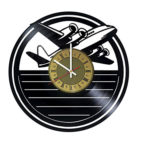 Model Airplanes design vinyl record wall clock - gift idea for adults youth and teens - home & office rest room living room wall decor - customize your clock