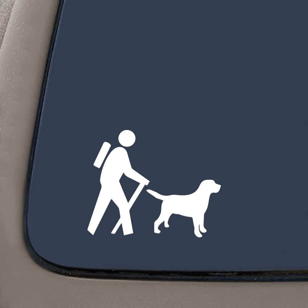 """NI120 Hiker with Labrador Dog Camp Camper Camping Decal Sticker 