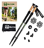 Hiking Trekking Poles Ultralight 2-Pack | Compact Collapsible | High Performance Cork Grips | Shock-Absorbing | Adjustable to 53"