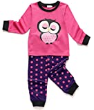 Girls Owl Pajamas Toddler Kids Long Sleeve PJs 2 Pieces Cotton Sleepwear Set Size 4-5 Years