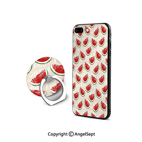 (Protector for iPhone 7/8 with 360°Degree Swivel Ring,Watercolor Fresh Watermelons Yummy Summer Food Harvest Paintbrush Display,Durable Soft Touching,Cream Red Jade Green)