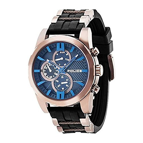 Police Men's 48mm Black Rubber Band Steel Case Quartz Blue Dial Analog Watch 14541JSBN02P