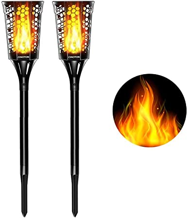 96 LED Solar Power Torch Lights Dancing Flame Lamp Flickering Fixtures Decor