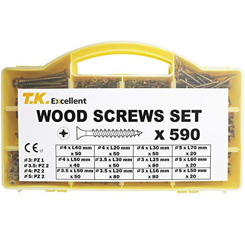 T.K.Excellent Wood Screw Phillips Flat Head Drywall Chipboard Screw Assortment Kit,590 Pcs