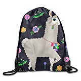 Llama Alpaca Designs Boys Drawstring Backpack Heavy Duty String Backpack Party