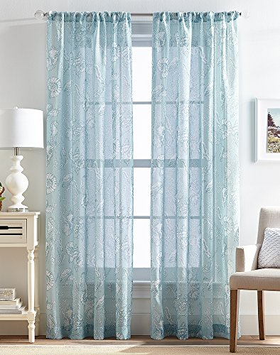 Destinations CHF 2-pc. Shells Sheer Curtain Panel Set 84'' Blue