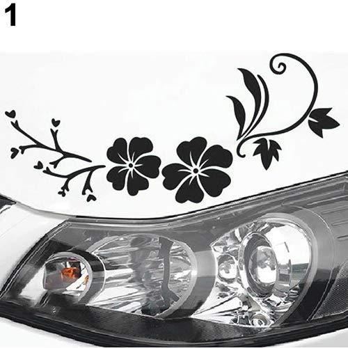 interjunzhan Removable Reflective Flower Vine Car Bonnet Body Window Sticker Car Auto Decal Black
