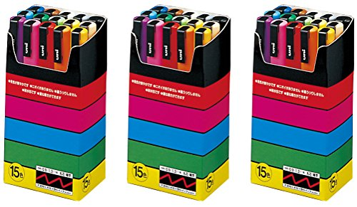 Mechanical Roller Original Design ([3 set] Uni-posca Paint Marker Pen - Fine Point - Set of 15 (PC-3M15C) with an Original Paperclip.)