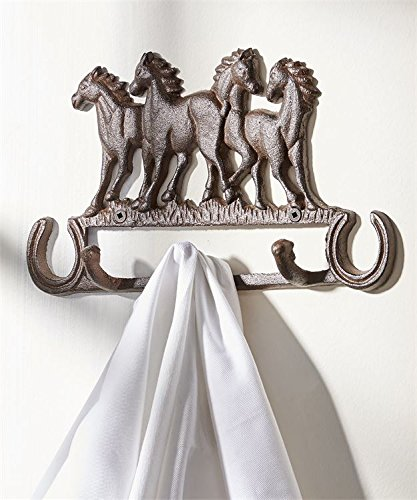 Cast Iron Wall Hanger Vintage Design Hooks Keys Towels Hook Metal Wall Mounted Heavy Duty Decorative Gift Idea (Horses)