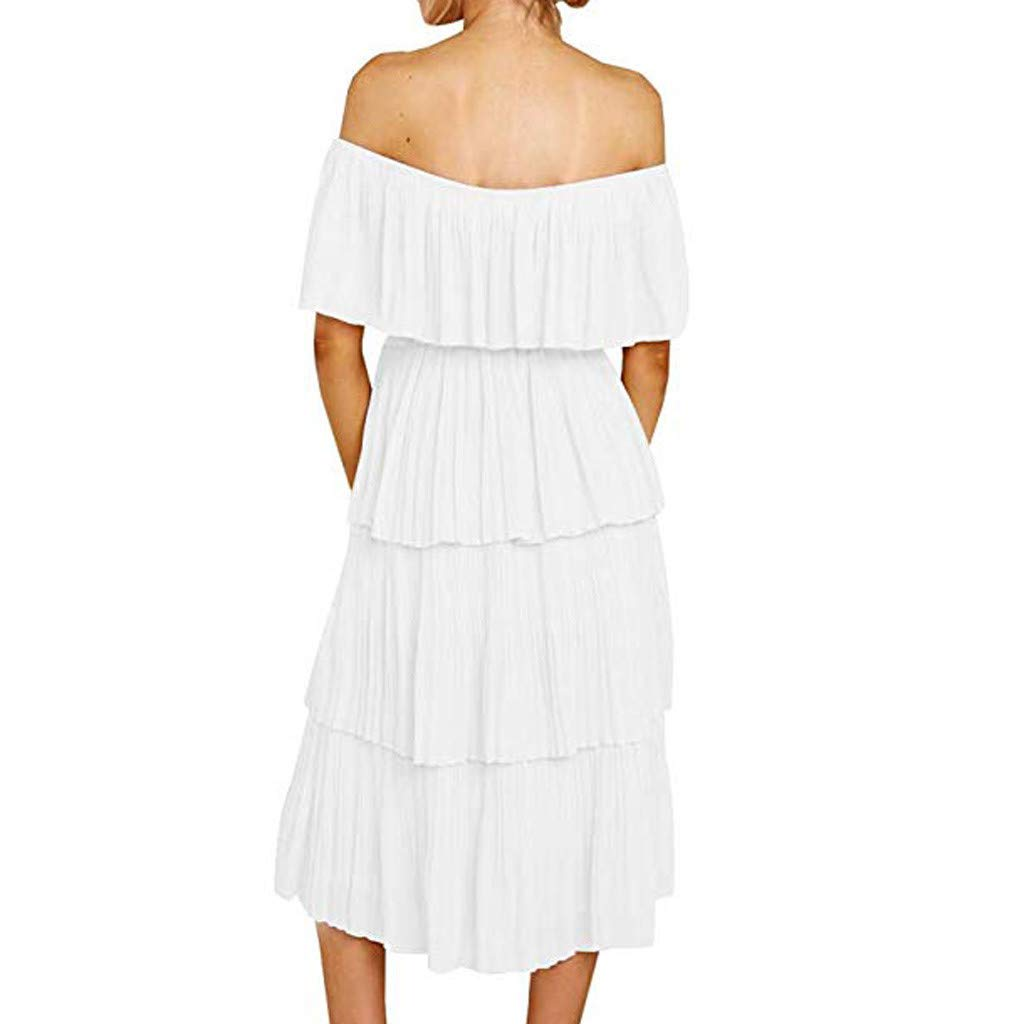 Ruffle Layered Dresses for Women,Off Shoulder Slim Fit Casual Party Maxi Dress (S, White) by Yihaojia Women Dress (Image #1)