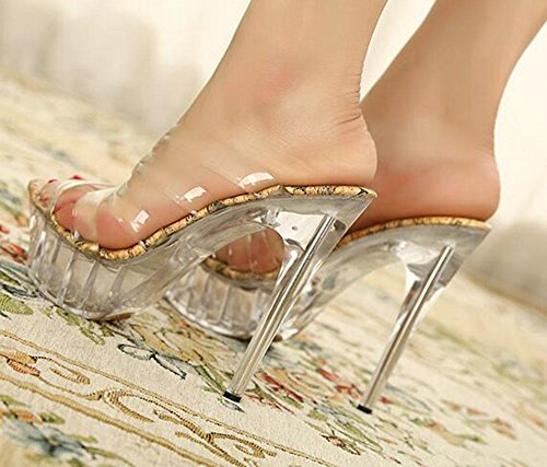 KUKI Transparente Damen High Heel Sandalen Fisch Mund Schuhe gut mit großen Schuhen