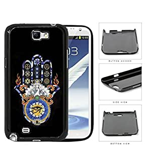 Hamsa Hand Solid Background Series Hard Snap on Cell Phone Case Cover Samsung Galaxy Note 2 N7100 (black) by Maris's Diary