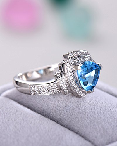 Blue Topaz Wedding Ring Trillion Cut 925 Sterling Silver White Gold CZ Diamond Halo Unique Engagement Set by Milejewel Topaz Engagement Ring (Image #3)