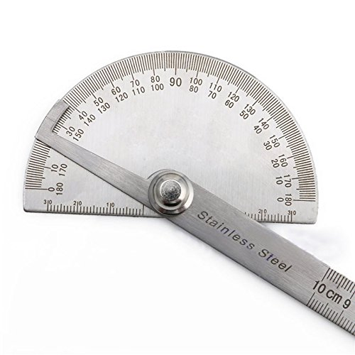 Soviton Stainless Steel 180 Degree Protractor Angle Gauges Arm Measuring Ruler Tool