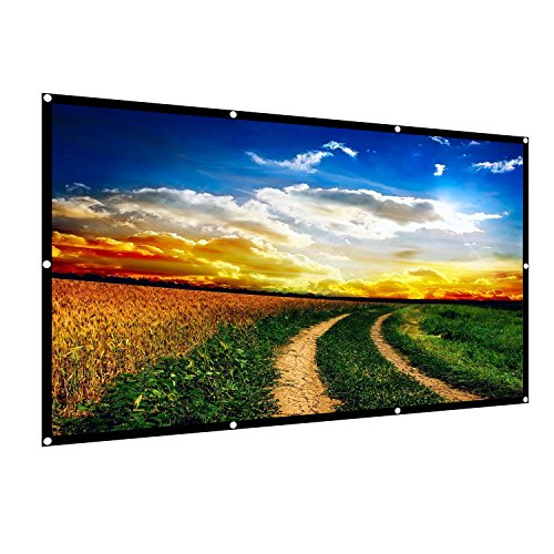 120 inch Projection Movies Screen 16:9 HD 4K Foldable Portable Outdoor Indoor Video Projector Screen TV 160°Viewing Angle Diagonal Projection with Wrinkle-Free Design for Home Theater Office ()