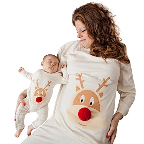 Pajamas Family Set,Kintaz Mommy and Me Baby Women Outfit for Family Matching Mom Baby Boy Girl Reindeer Romper Long Sleeve T-Shirt (12Month(Baby US Size))