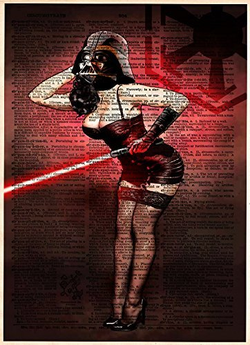 Star Wars pinup girl artwork, Darth Vader with light saber, printed on vintage dictionary page