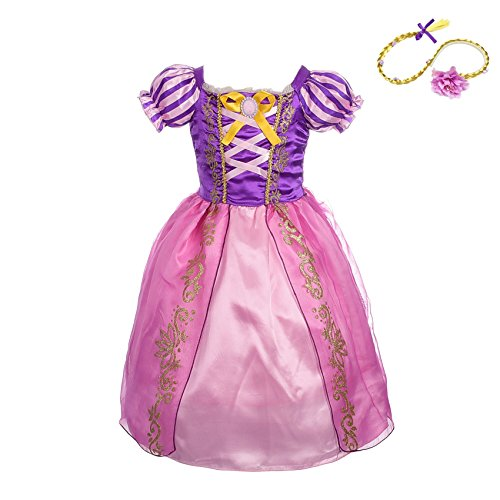 Lito Angels Baby-Girls' Princess Rapunzel Dress up Costume Halloween Fancy Party Dress Outfit with Long Braid Wig Size 18-24 Months