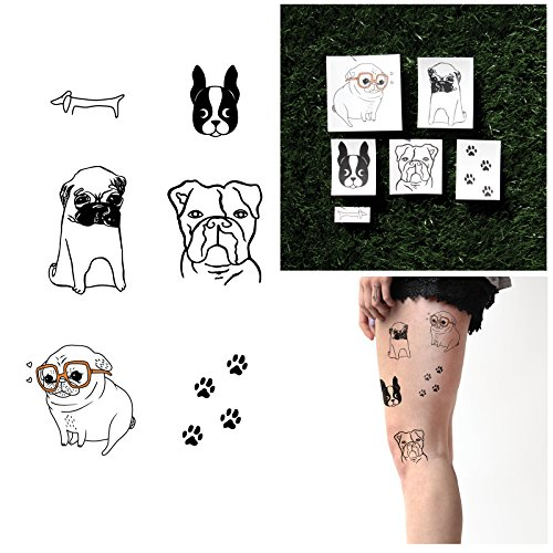 Tattify Dog Temporary Tattoos - Doggy Style (Set of 12 Tattoos - 2 of each Style) - Individual Styles Available - Fashionable Temporary Tattoos -