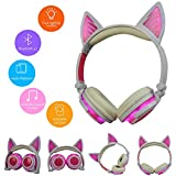 Aobiny Wireless Bluetooth Earphones, Foldable Cat Ear Earphone,LED Music Lights Rechargeable Headset,for iPhone MP4,Sport Casual Earphone (Pink)