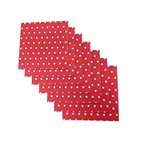 """Red and White Polka Dot Party Napkins, 40 Count, 6.5"""" X 6.5"""" Premium Beverage Napkins. Perfect For Parties, Birthdays, Weddings, Reunions And Much More. By Premium Disposables."""