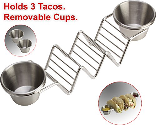 Stainless Steel Taco Holder Stand by Clasier - Exclusive Taco Tray with 2 Removable Salsa Serving Cups -Dishwasher and BBQ Grill Safe, Oven Safe Rack for Baking or Reheating - 10.5 x 2.5 x 2 inches