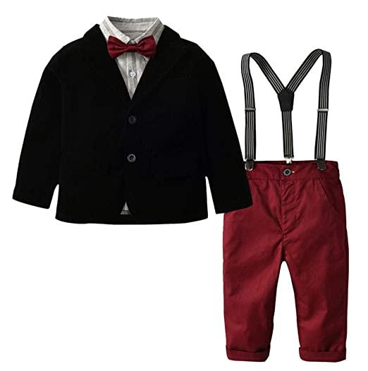 Amazon Yumily Littletoddler Boys 3 Pcs Black Suit Shirt