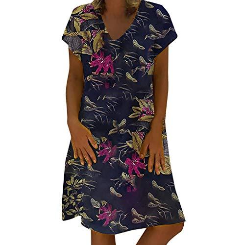 - Women Vintage Maxi Sleeveless O Neck Plus Size Bohemian Print Plaid Long Dress Navy